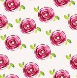 与美丽的桃红色花的无缝的样式 库存例证