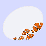 与美丽的橙色鱼的卵形照片框架在蓝色背景 向量例证