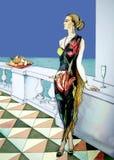 与美丽的水仙的浪漫卡片 免版税图库摄影