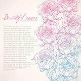 与美丽的玫瑰的卡片 向量例证