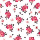 与美丽的玫瑰色花的刺绣无缝的样式在白色背景 库存例证