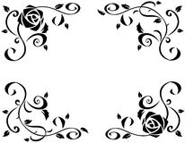 与美丽的玫瑰色花黑剪影的框架 免版税库存照片