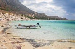与美丽的盐水湖-克利特的Balos海滩在希腊 库存图片
