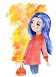 与美丽的秋天女孩的水彩手拉的艺术有蓝色头发和黄色叶子的围拢了她的头 向量例证