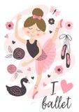 与美丽的芭蕾舞女演员女孩的海报 免版税库存图片