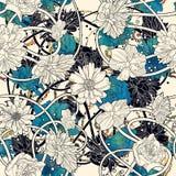 与美丽的花的无缝的样式在白色背景 向量例证