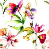 与美丽的花的无缝的模式 免版税库存图片