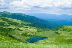 与美丽的蓝色湖的山在夏天 库存照片