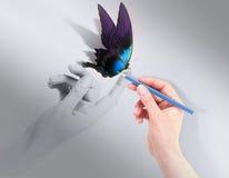 与美丽的蝴蝶的启发概念 免版税库存照片