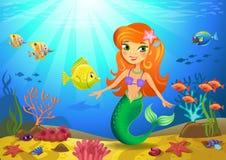 与美人鱼和珊瑚的海底 库存图片