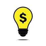 与美元和电灯泡标志的金钱想法 免版税库存图片