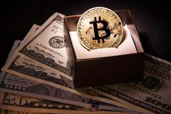 与美元和金黄硬币的Bitcoin 免版税库存照片
