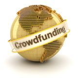 与美元形成的地球的Crowdfunding标志 库存图片