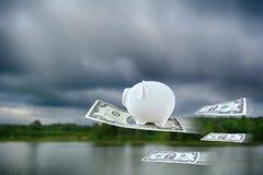 与美元的一点存钱罐飞行在自然背景, vint 库存照片