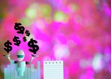 与美元的在木委员会背景的笔记薄和机器人 使用墙纸或教育的,企业照片 注意到p 免版税图库摄影