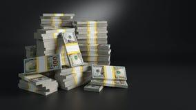 与美元的批 纸币堆  库存照片