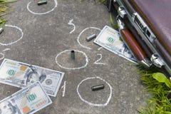与美元的犯罪现场 库存图片