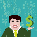 与美元的符号的成功的商人 向量例证