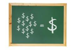 与美元的符号的黑板 库存照片