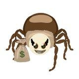 与美元的蜘蛛Hauk和袋子 免版税库存照片