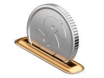 与美元硬币的Moneybox 库存照片