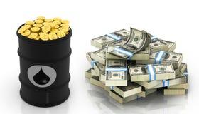 与美元笔记和金币的油桶 图库摄影