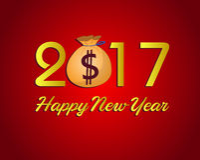与美元金钱的新年快乐2017年 免版税库存图片