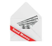 与美元Billls的信封和送金钱标志 免版税库存照片