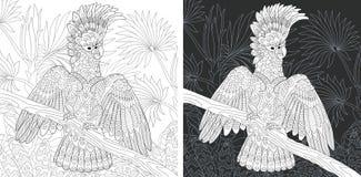 与美冠鹦鹉鹦鹉的着色页 向量例证