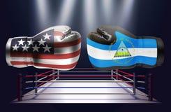 与美国和尼加拉瓜人旗子面对的印刷品的拳击手套 皇族释放例证