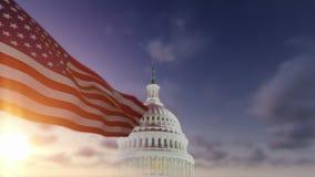 与美国国会大厦的美国国旗 影视素材