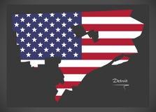 与美国国旗例证的底特律密执安地图 库存照片