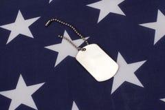 与美国国旗的卡箍标记 免版税库存图片