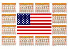 与美国国旗的日历 库存照片