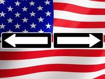 与美国国旗的竞选2016年,在背景 3d翻译 免版税库存图片