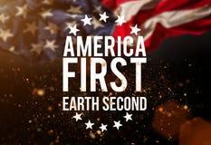 与美国国旗的美国第一catcheword 免版税图库摄影
