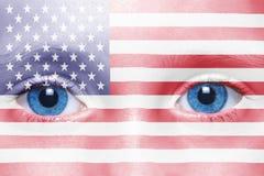 与美国国旗的面孔 免版税图库摄影