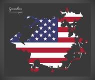 与美国国旗illust的格林斯博罗北卡罗来纳地图 免版税库存照片