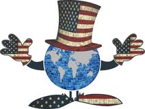 与美国帽子和手的地球 向量例证