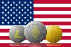 与美国旗子的Litecoin Ethereum Bitcoin cryptocurrency在背景 免版税库存图片