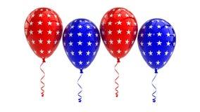 与美国星形设计的爱国美国气球 免版税库存照片