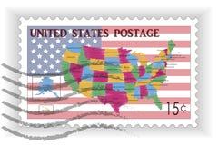 与美国的地图和旗子的邮票 库存照片