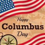 与美国的愉快的哥伦布日下垂在地图背景或横幅图表的传染媒介 免版税库存图片