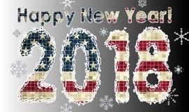 与美国的旗子的新年快乐2018年 库存图片