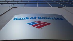 与美国银行商标的室外标志板 编译的现代办公室 社论3D翻译 免版税库存照片