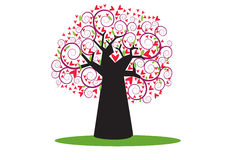 与美好的样式的红色树在白色背景 查出的徽标爱对象符号结构树变形向量 库存照片