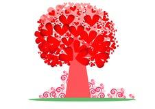 与美好的样式的红色树在白色背景 查出的徽标爱对象符号结构树变形向量 免版税库存图片