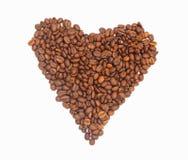 与美好的白色背景隔绝的心形的咖啡豆,例证,可以归因于其他工作 免版税库存图片