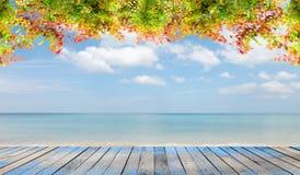 与美好的秋叶框架的木地板在海滩和天空s 图库摄影