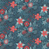 与美好的花和分支的无缝的样式 免版税图库摄影